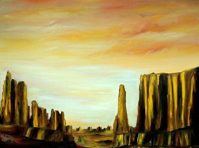 Fine Art Contemporary , Modern painting, a mix of Semi-abstract and impressionism. Large oil on deep canvas. Canyons and deserts is the inspiration of this painting. Warm colours of yellow, orange, brown. the rocks looks towers of gold in a desert. Warm soft sky full of light. Ready to hang