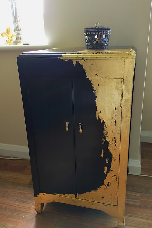 Eclectic Vintage Cabinet hand painted black with gold leaf