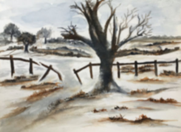 Winter has arrived I watercolour art painting original winter landscape snow in countryside