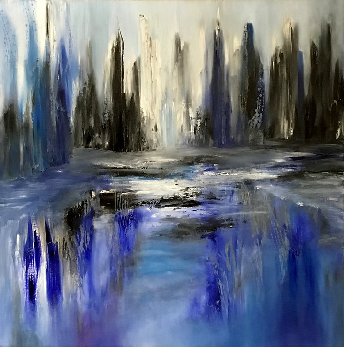 Abstract city oil painting, contemporary abstract fine art, contemporary abstract art, abstract painting blue, skyscraper landscape painting,