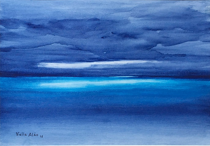 Light Behind the Darkness watercolour art painting original dramatic atmospheric seascape semi abstract
