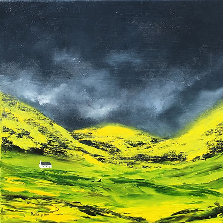 Lost Valley, Scotland, highlands, mountain, valley, glencoe, cottage in mountain, impressive, intense, dramatic, solitude, isolation, peacefull, tranquility, art contemporary, modern painting, best purchase of art, purchase art, buy art, online art, online gallery, buy art online gallery, art from artist, international artist, impressionism, expressionism, landscape, landscape painting, beautiful scotland