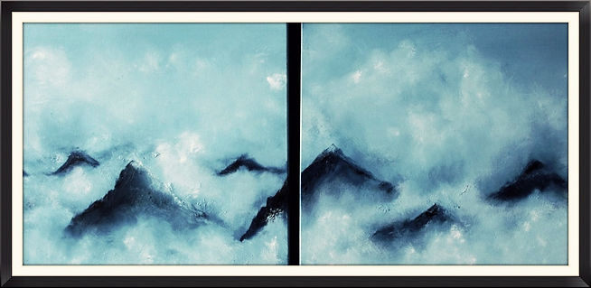 double painting clouds mountain top sky oil on deep canvas affordable art contemporary fine art for sale art online