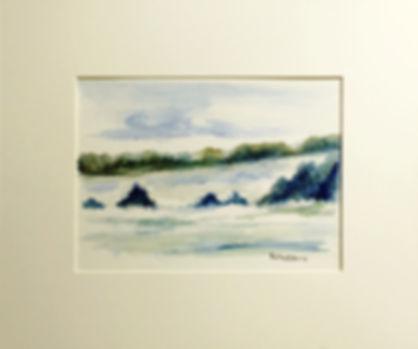 Original art painting Watercolour on paper Landscape purple Highlands