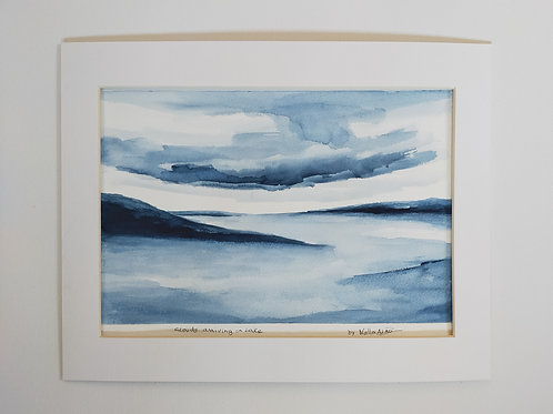 "Original watercolour painting,. ""Clouds in the Lake"""