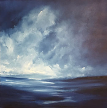 Original contemporary painting oil on canvas Semi-Abstract landscapedramatic beautiful and relaxing unique original fine art Clouds reflection light and dark monochromatic blue and white