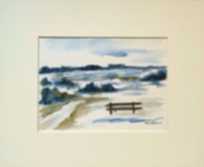 Original art painting Watercolour on paper Landscape with mount