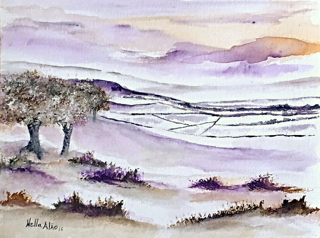 Beautiful winter II watercolour art painting original winter landscape snow in countryside