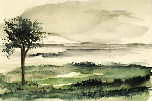 Watercolour painting Winter Green landscape