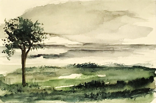 Watercolour painting Winter Green landscape