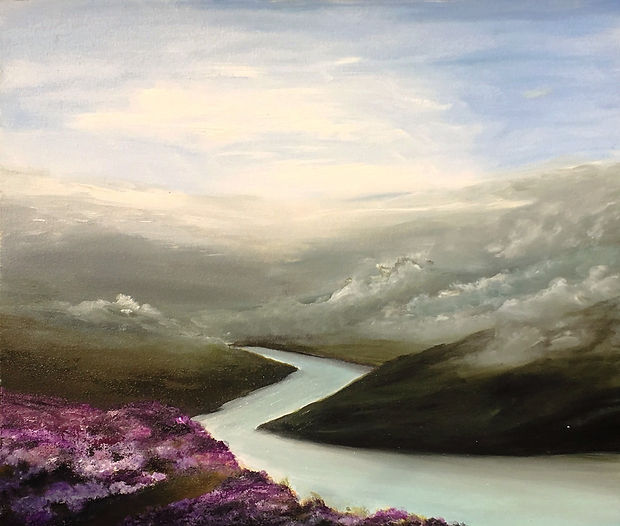 the mist in mountain, mist, mountain, river, northern, north, landscape, cumbria, lancashire, lake district, yorkshire, moors, mist in moors, heather, english landscape, uk, artist in cheam, art for sale, lake district landscape, yorkshire landscape, winter landscape, traditional painting, landscape painting, english landscape