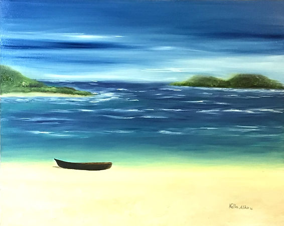 a little boat in a tropical beach. The end of the day is giving strong colours. Original painting oil on canvas