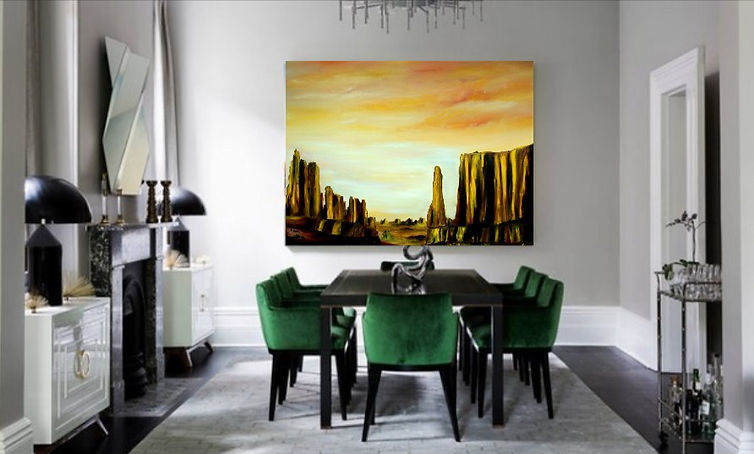 Golden, desert, original landscape painting, oil painting, large deep canvas, beautiful, wall painting decor, interior design, warm colours painting, yellow, red, orange, brown, gold, rich sky, pallet knife, art for sale, desert painting, contemporary landscape desert, desert landscape, luxury interior design, luxury painting, fine art landscape,