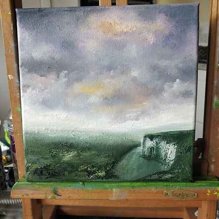 South Downs landsape Sussex, shalk hills, winter, sky, dramatic, painting, Blackboys, Studio Alao, art sudio, paintings for sale, from artist, Nella Alao