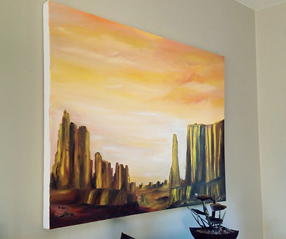 golden desert canyon desert sahara middle east gold sand rocks warm sky modern painting light contrast sun yellow brown texture palette knife