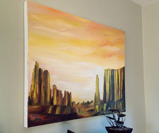 golden desert canyon desert sahara middle east gold sand rocks warm sky modern painting light contrast sun yellow brown texture palette knife