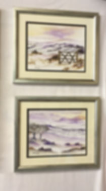 beautiful calm watercolour winter landscape snow highlands yorkshire york moors england purple relaxing colours
