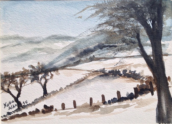 Winter Times in Northern countryside I watercolour art painting original winter landscape snow in countryside