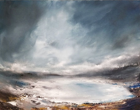 Frozen Lake, lake painting, oil painting, canvas board, dramatic painting, beautiful art, unique art, atmospheric, moody, sky, clods, storm, ice, iceland, scotland, canada, northen, north landscap, winter, mountain, blue, grey, white, lght, gallery, fine art, best art, uk art, uk artist, sussex art, sussex artist, sussex pintings, sussex art fair, best paintings in sussex, clouds painting, abstract landscape, exquisite landscape painting, luxury home, painting for sale, best artist uk, light in sky painting, sussex paintings, uk paintings, iceland paintings, iceland landsape paintings, canada landscape paintngs, frozen lake painting, mist painting,