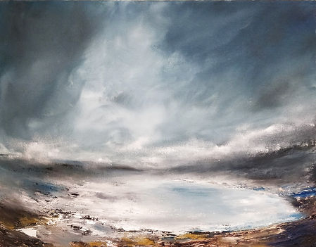 Frozen Lake, lake painting, oil painting, canvas board, dramatic painting, beautiful art, unique art, atmospheric, moody, sky, clods, storm, ice, iceland, scotland, canada, northen, north landscap, winter, mountain, blue, grey, white, lght, gallery, fine art, best art, uk art, uk artist, sussex art, sussex artist, sussex pintings, sussex art fair, best paintings in sussex, clouds painting, abstract landscape, exquisite landscape painting, luxury home, painting for sale, best artist uk, light in sky painting, sussex paintings, uk paintings, iceland paintings, iceland landsape paintings, canada landscape paintngs, frozen lake painting, mist painting, Singulart, online gallery, fine art gallery, fine art galleries online