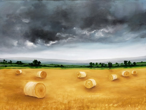 The end of the Harvest, hay bales in the field, best paintings, paintings for your home, original oil painting landscape, contemporary modern art for sale online or in studio Blackboys east sussex england nella alao artist painter high quality paintings british uk house decor office gallery galleries fine art saatchi artfinder artgallery online buy from artist stunning presents gifts, Singulart , art gallery, Castle fine art, Saatchi art, best galleries, fine art gallery, online gallery