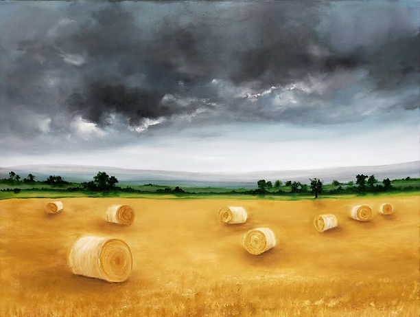 The end of the Harvest, hay bales in the field, best paintings, paintings for your home, original oil painting landscape, contemporary modern art for sale online or in studio Blackboys east sussex england nella alao artist painter high quality paintings british uk house decor office gallery galleries fine art saatchi artfinder artgallery online buy from artist stunning presents gifts