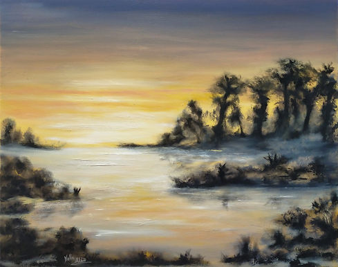 Dawn, sunrise, lake, water reflection, beautiful sky colours, england, english, british, art, artists, painters, painting, oil on canvas, best art, for sale, unique, original, exclusive, majestic, impressive, trees, mist, fog, early morning, nella alao, art, artist, international, contemporay art, sussex, east sussex, blackboys, wealden, eastbourne, county, hastings, brighton, hove, tunbridge wells, best art, home, decor, interiors design, homedecor, luxury homes,