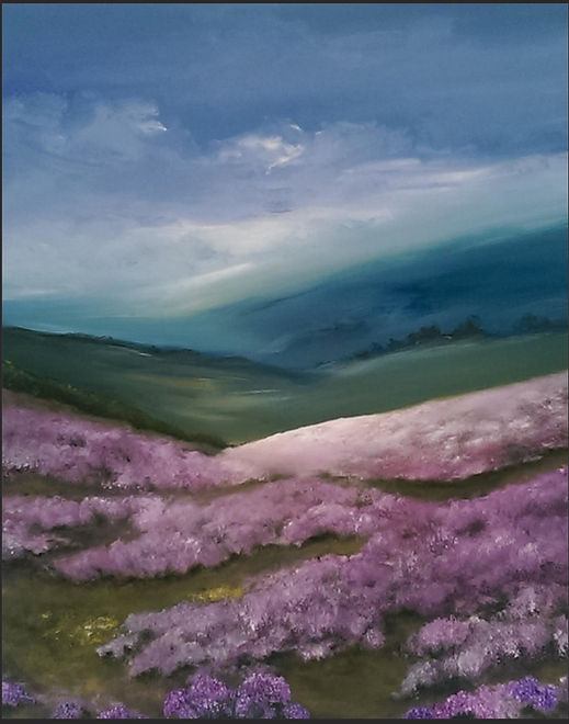 Original contemporary painting in Impressionism Style,  oil on canvas with high professional quality, in technique of strokes , full of texture, Yorkshire, moors, landscape, Ilkley, Yorkshire dales, Yorkshire moors, heather, blue sky, mist, bright colours, stunning landscape, decor hpme, interior design,