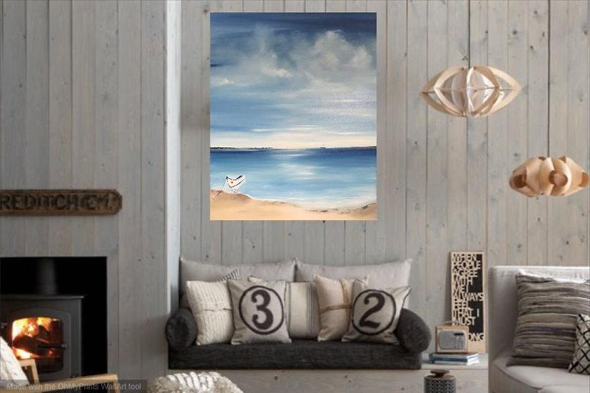 calm seascape in light blue colours sea little boat lusitano pequeno barco ria de faro algarve portugal