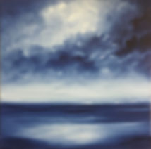 Blue and white large painting, blue and white painting, original contemporary painting, oil on canvas Semi-Abstract landscape, seascape abstract painting, clouds storm painting, light dark painting, original fine art uk, artist painter surrey, artist painter london,   beautiful and relaxing landscape painting, artist painter Nella Alao, art painting for sell, affordable and original paintings, paintings unique christmas,