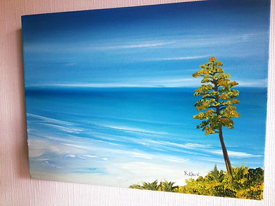 closer up oil on canvas painting studio exhibition cheam greater london sandy beach tourquoise sea crystal water