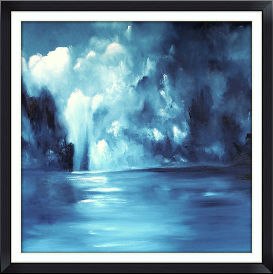Fine Art, Contemporary Atmospheric and dramatic Abstract painting for sale, oil on canvas, monochrome in beautiful prussia blue and white. Clouds, sky, sea, refletions, large painting. Mystic, Transcendental. Lots of contrast. Beautiful and intense painting. Ready to hang