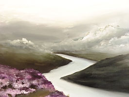 river, moutains, heather, mist, cloudy, clouds,