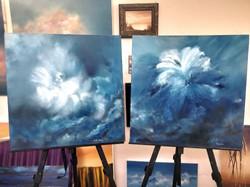 paintings in studio