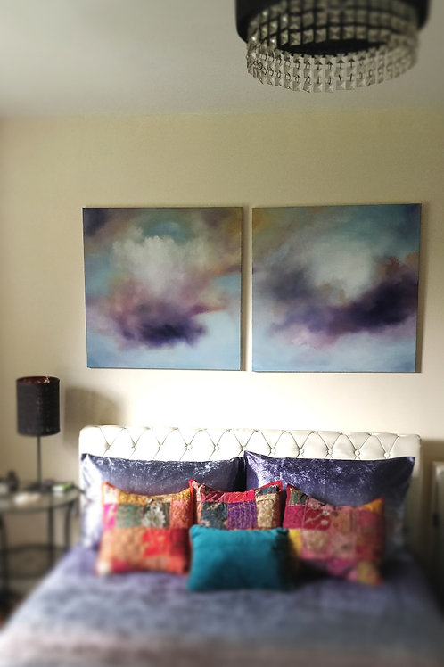 "Celestial Clouds, Original oil on canvas, 2 paintings, 30"" x 30"" each."