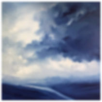 Original contemporary painting oil on canvas Semi-Abstract landscape seascape clouds storm light dark original fine art  beautiful and relaxing by artist painter Nella Alao art painting for sell affordable unique