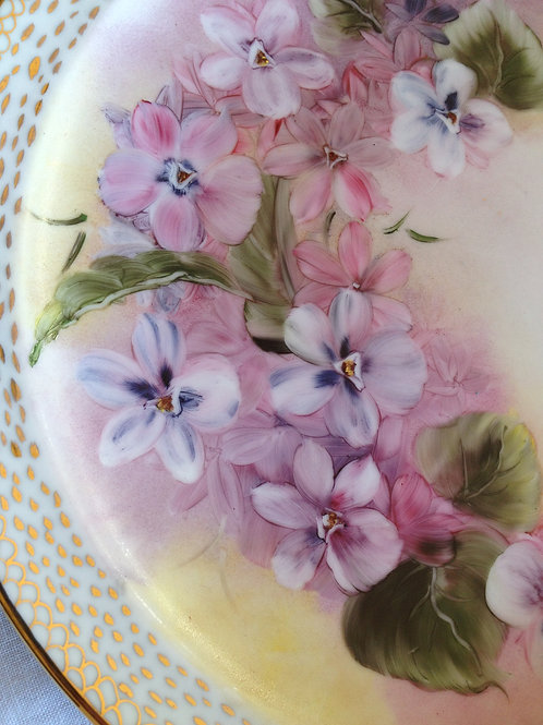 Violets, Bone Fine China Plate