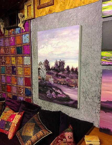 beautiful landscape purple colours, england landscape, english landscape, uk, scotland, ireland, europe, landscape with pound, landscape paiting,