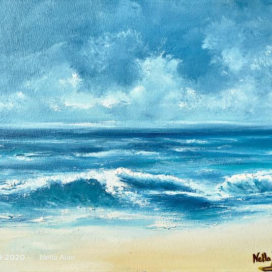Waves crushing on beach