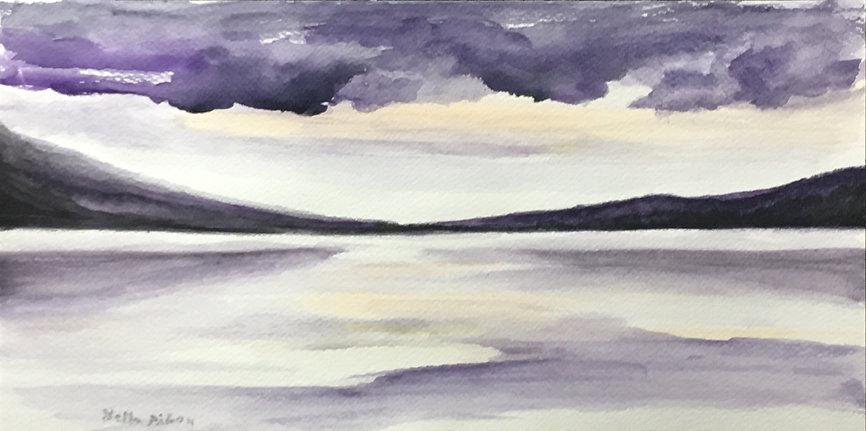 Loch watercolour art painting original dramatic atmospheric seascape landscape Highlands purple