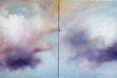"Celestial Clouds,  2 paintings, 30"" x 30"" each."