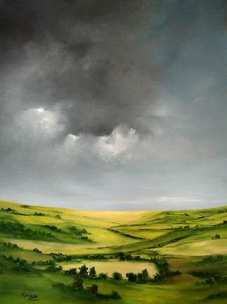English landscape warm summer, art for sale, best art, british art, british countryside, fields landscape, sky clouds brings rain, beautiful landscape painting, fine art, art collectors, art gallerie, best art online