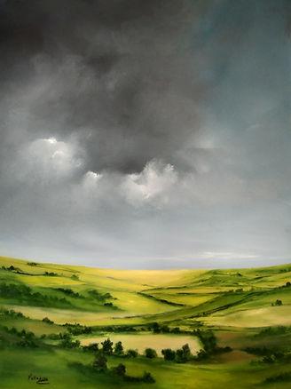 English landscape warm summer, art for sale, best art, british art, british countryside, fields landscape, sky clouds brings rain, beautiful landscape painting, fine art, art collectors, art gallerie, best art online