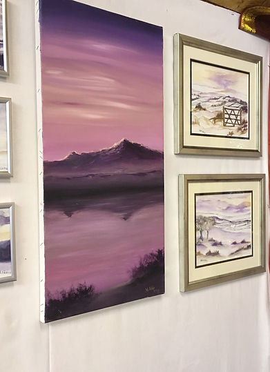 Peace in Highlands original oil canvas painting scotland loch lake mountain purple light refletion water