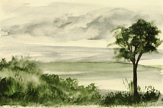 Watercolour art painting Winter Green landscape