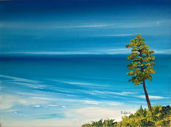 beautiful blue sea and sky sandy beach is the favourite original oil on canvas painting art for sale international artist in Cheam Village Sutton Surrey UK selling art to US Japan Dubai Australia Europa China
