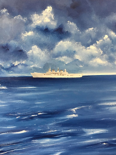 Royal warship, royal warship and the Needles, Royal warship seascape, Royal warship in isle of Wight, seascape with warship, warship modern painting, Ark Royal,