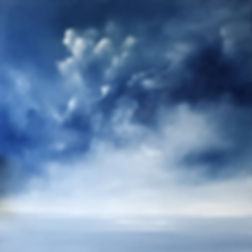 Original contemporary painting, oil on canvas, sky painging, Semi-Abstract landscape, seascape, clouds, storm, light, dark, original fine art,  beautiful and relaxing, artist painter Nella Alao ,art painting for sell, affordable art for sale, unique painting, original seascape blue white painting, home decor, decor your home, paintings wall, blue sky, stormy sky, storm blue sky, cloudy sky,