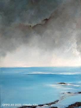 Triptych winter sea painting, South Coast painting, low tide painting, Hastings low tide, Hastings beach, Eastbourne beach, Eastbourne beach painting, Seven sisters painting, low tide Eastbourne, sussex art, sussex landscape painting, sussex art, uk art, uk beaches, uk paintings, uk seascapes paintings