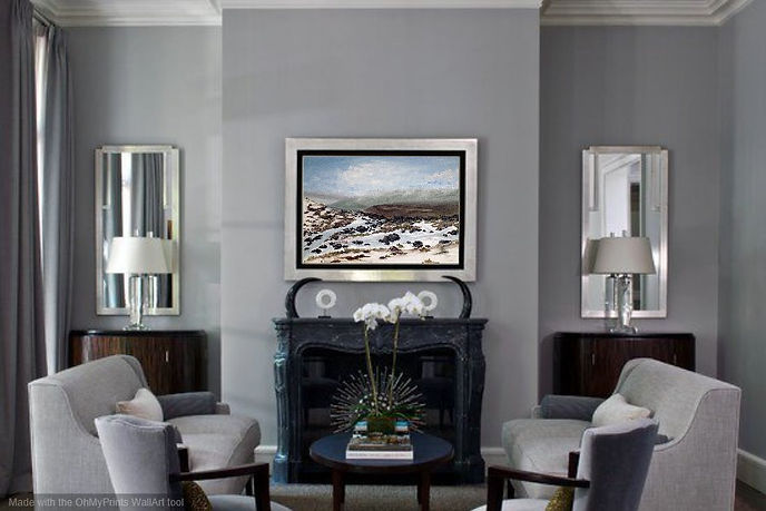 Original painting by Nella Alao oil on canvas interior design ideas living room luxury England landscape Yorkshire Ilkley moors dales snow mist clouds